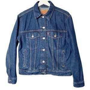 Levi's cropped trucker denim jacket women's small